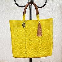Leather accented plastic tote, 'Maize Mirage' - Leather Accented Plastic Tote in Maize from Mexico