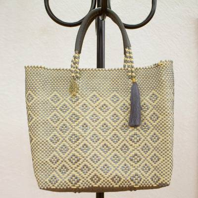 Leather accented plastic tote, 'Slate Diamonds' - Vanilla and Slate Leather Accented Plastic Tote from Mexico