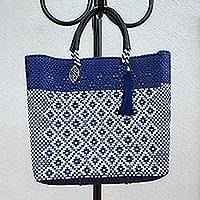 Leather accented plastic tote, 'Indigo Dream' - White and Indigo Leather Accented Plastic Tote from Mexico