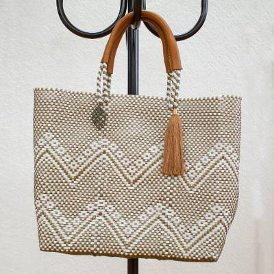 Leather accented plastic tote, 'Golden Zigzags' - White and Gold-Tone Leather Accented Plastic Tote