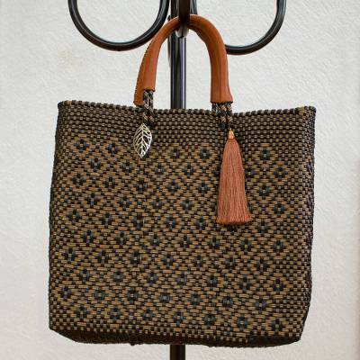 Handwoven leather accent tote, 'Ebony Gold' - Ebony and Gold-Tone Leather Accent Handwoven Tote