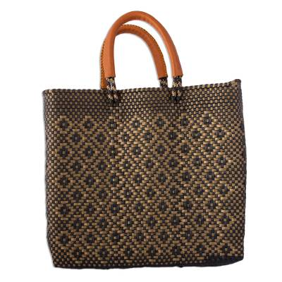 Ebony and Gold-Tone Leather Accent Handwoven Tote