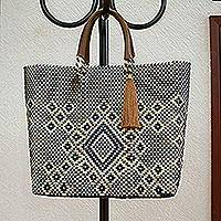 Leather accented plastic tote, 'Vanilla Geometry' - Vanilla and Navy Leather Accented Plastic Tote from Mexico