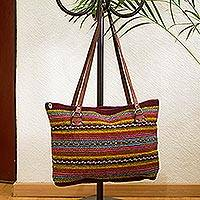 Leather accented wool shoulder bag, 'Sophisticated Stripes' - Burgundy and Multicolored Striped Wool Shoulder Bag