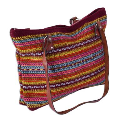 Burgundy and Multicolored Striped Wool Shoulder Bag