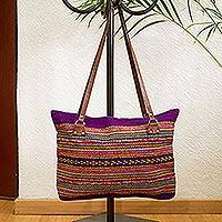 Leather accented wool shoulder bag, 'Regal Stripes' - Blue-Violet and Multicolored Striped Wool Shoulder Bag