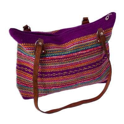 Blue-Violet and Multicolored Striped Wool Shoulder Bag