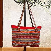 Leather accented wool shoulder bag, 'Passionate Stripes' - Crimson and Multicolored Striped Wool Shoulder Bag