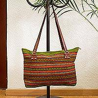 Leather accented wool shoulder bag, 'Sunset Jungle' - Avocado and Multicolored Striped Wool Shoulder Bag