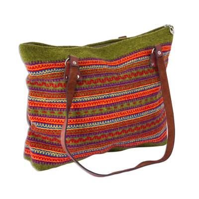Avocado and Multicolored Striped Wool Shoulder Bag