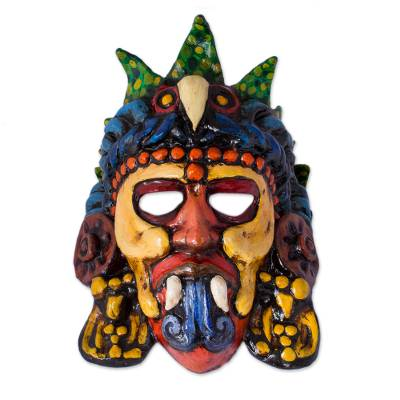 Recycled Papier Mache Eagle Warrior Mask from Mexico