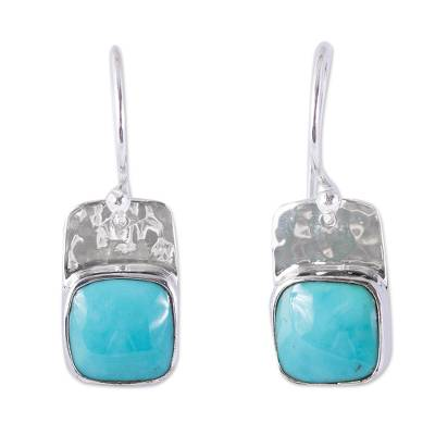 Turquoise dangle earrings, 'Watery Gleam' - Square Natural Turquoise Dangle Earrings from Mexico