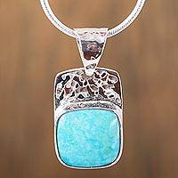 Turquoise pendant necklace, 'Watery Gleam' - Square Natural Turquoise Pendant Necklace from Mexico