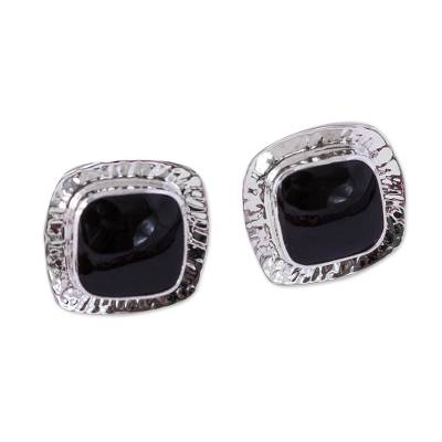 Square Obsidian Button Earrings from Mexico