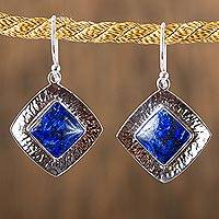 Lapis lazuli dangle earrings, 'Lapis Mirrors'