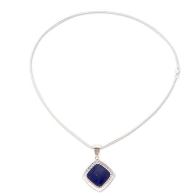 Lapis lazuli pendant necklace, 'Lapis Mirror' - Taxco Silver Lapis Lazuli Pendant Necklace from Mexico