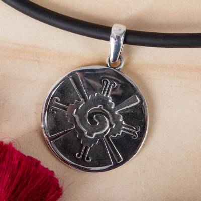Men's sterling silver pendant necklace, 'Round Hunab Ku' - Men's Mayan Sterling Silver Pendant Necklace from Mexico