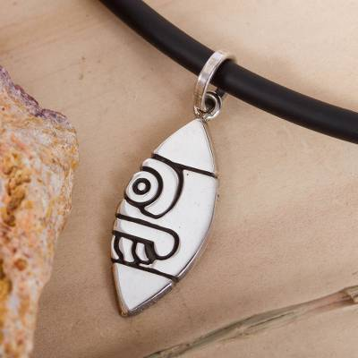 Men's sterling silver pendant necklace, 'Ancient Flint' - Pre-Hispanic Sterling Silver Pendant Necklace from Mexico
