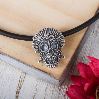 Sterling silver pendant necklace, 'Grinning Calavera' - Sterling Silver Calavera Pendant Necklace from Mexico