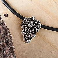 Sterling silver pendant necklace, 'Calavera la Comadre' - Sterling Silver Floral Skull Pendant Necklace from Mexico