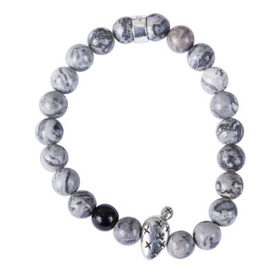 Taxco Natural Agate Prickly Pear Beaded Stretch Bracelet