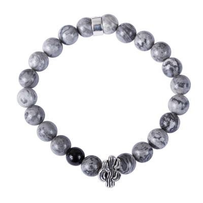 Taxco Natural Agate Cactus Beaded Stretch Bracelet