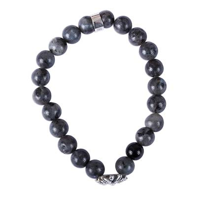 Taxco Grey Agate Agave Beaded Stretch Bracelet from Mexico