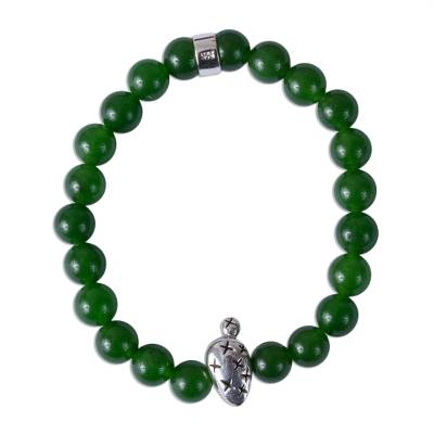 Taxco Green Agate Prickly Pear Beaded Stretch Bracelet