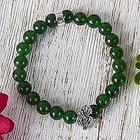 Agate beaded stretch bracelet, 'Green Succulent Cactus' - Taxco Green Agate Cactus Beaded Stretch Bracelet from Mexico