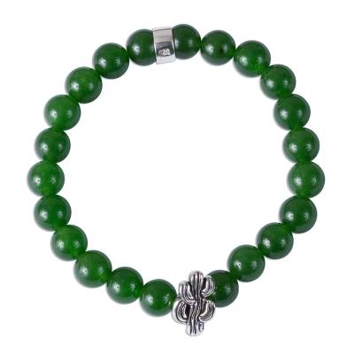 Taxco Green Agate Cactus Beaded Stretch Bracelet from Mexico