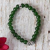 Agate beaded stretch bracelet, 'Green Succulent Agave' - Taxco Green Agate Agave Beaded Stretch Bracelet from Mexico