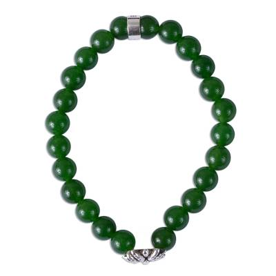 Taxco Green Agate Agave Beaded Stretch Bracelet from Mexico