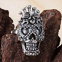 Sterling silver cocktail ring, 'Calavera Garbancera' - Heart-Themed Taxco Silver Skull Cocktail Ring from Mexico