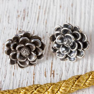 Sterling silver button earrings, 'Dahlia Elegance' - Taxco Sterling Silver Dahlia Flower Button Earrings