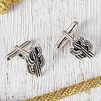 Sterling silver cufflinks, 'Succulent Cactus' - Taxco Sterling Silver Cactus Cufflinks from Mexico