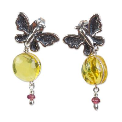 Butterfly-Themed Amber Dangle Earrings from Mexico