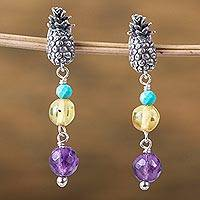 Multi-gemstone dangle earrings, 'Succulent Pineapples' - Pineapple-Themed Multi-Gemstone Dangle Earrings from Mexico