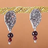 Agate and garnet dangle earrings, 'Sweet Prickly Pears' - Prickly Pear-Themed Agate and Garnet Dangle Earrings