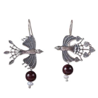 Bird-Themed Agate and Cultured Pearl Dangle Earrings