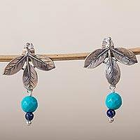 Turquoise and amethyst dangle earrings, 'Indigo Foliage' - Leafy Turquoise and Lapis Lazuli Dangle Earrings from Mexico