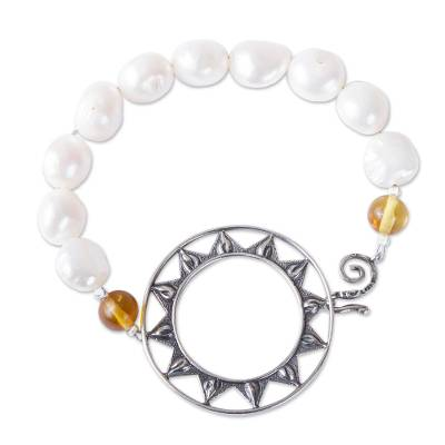 Sun-Themed Cultured Pearl and Amber Beaded Pendant Bracelet