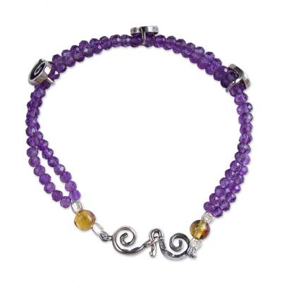 Amethyst and Amber Beaded Strand Bracelet from Mexico