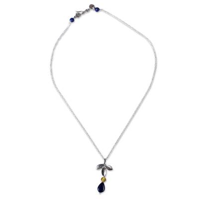 Leafy Lapis Lazuli and Amber Pendant Necklace from Mexico