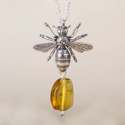 Amber pendant necklace, 'Worker Bee' - Bee-Themed Amber Pendant Necklace from Mexico
