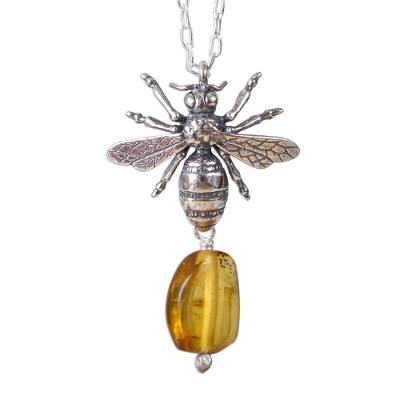 Bee-Themed Amber Pendant Necklace from Mexico