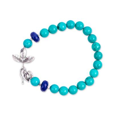 Leafy Turquoise and Lapis Lazuli Beaded Bracelet from Mexico