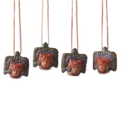 Ceramic Jaguar Warrior Ornaments from Mexico (Set of 4)