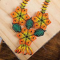 Glass beaded pendant necklace, 'Afternoon Flowers' - Orange and Yellow Floral Glass Beaded Pendant Necklace