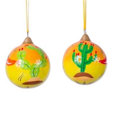 Artisan Handcrafted Mexico Theme Ceramic Ornaments (Pair)