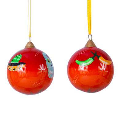 Artisan Handcrafted Mexican Ceramic Ornaments (Pair)
